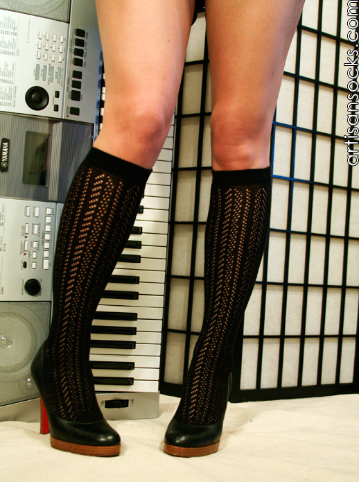 Sock It To Me Fancy Pants Black Crochet Fishnet Lace Knee