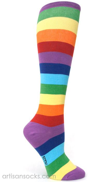 Rainbow Plus Size Socks - Striped Knee High Socks for Plus Sizes