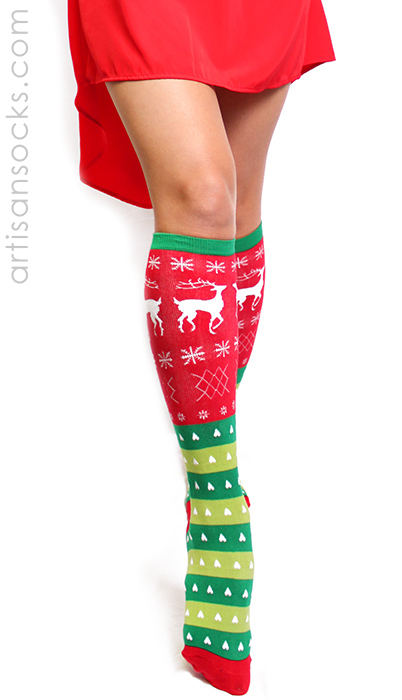 b0059e10e1d Tacky Sweater Socks - Knee High Chistmas Socks by Sock It To Me