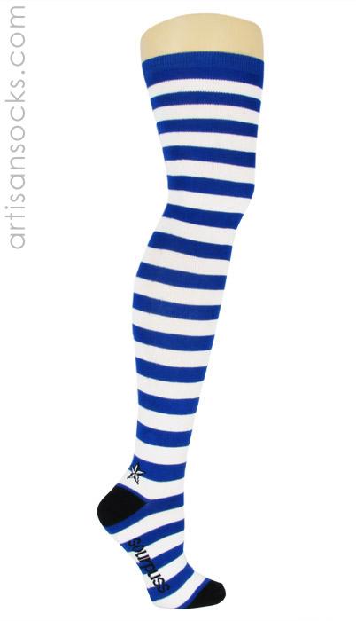 cf8c7d372 Sourpuss Blue and White Striped Thigh High Socks