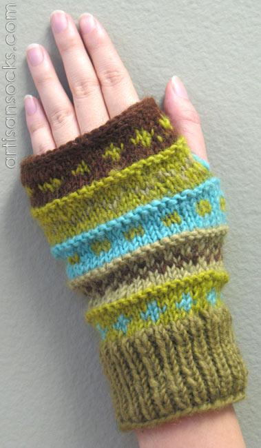 Fleece Lined Wool Fingerless Gloves Colorful Sage