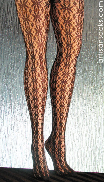 f4ee2602cb3 Black Patterned Tights with Crochet Lace