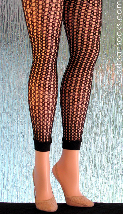 Footless tights in a black plus size fishnet for Fish net leggings