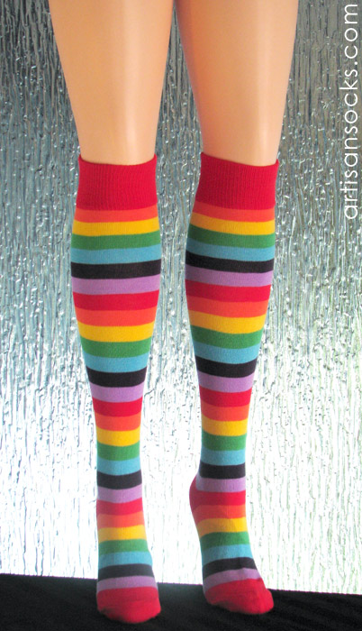 53c3e92d3 Sweater Knit Rainbow Striped Knee High Socks