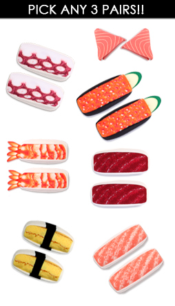 Pick your own 3 pack of sushi socks