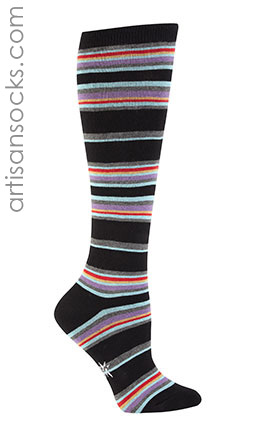 Black and Neon Thin Striped Knee High Socks