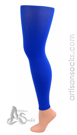 BLUE Solid Color Leggings / Footless Tights - Celeste Stein