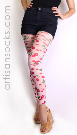 Cherry Leggings - Footless Tights