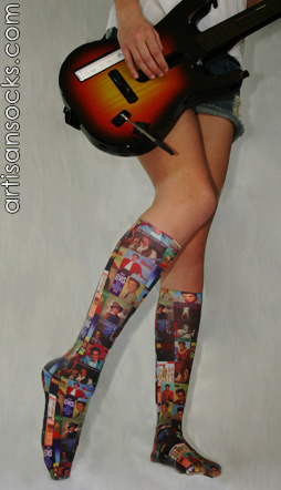 Celeste Stein Elvis Album Cover Novelty Print Knee High Socks