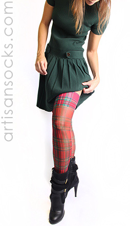 Sheer Red Plaid Thigh Highs