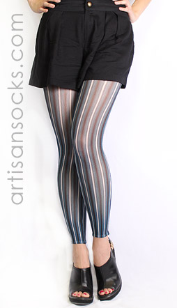 Plus Size Striped Footless Tights