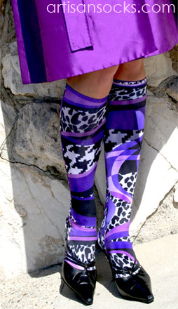 Celeste Stein Striped Purple Mamba Knee High Stockings