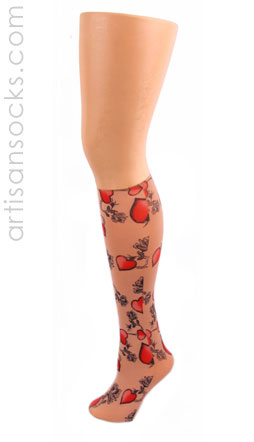 Celeste Stein Tattoo Print Knee High Stockings with Heart Pattern