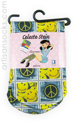 Peace and Happy Face Stamps Ankle Socks