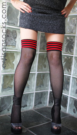 Thigh High Fishnet Stockings with Striped Top