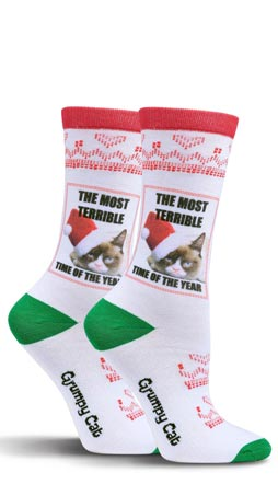 Grumpy Cat The Most Terrible Time Of The Year Crew Socks