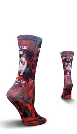 Valentine's Day Grumpy Cat Roses Are Red Crew Socks