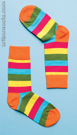 Happy Socks Stripe Striped Cotton Crew Socks: Vivid Multi Colors