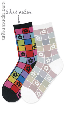 K. Bell Mosaic Flower Black Cotton Crew Socks