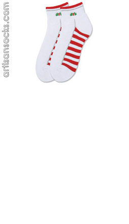 K. Bell Holly Berry Quarter Socks - White Cotton Socks
