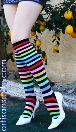 K Bell Rainbow Striped Knee High Stockings #1: kbell rainbow stripe knee high 598m1