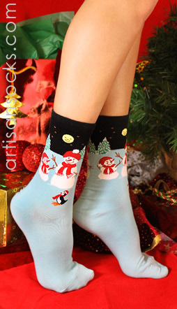 K. Bell Snowmen Socks - Winter Scene Holiday Socks