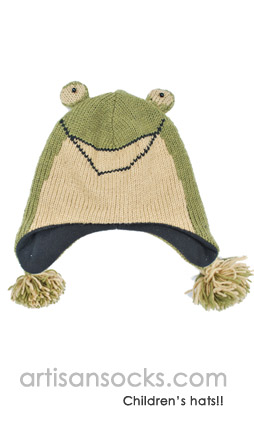 Fleece Lined Kids Animal Beanie: Kids Frog Hat