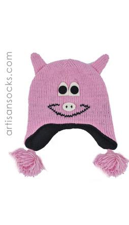 Kids Pink Pig Hat Fleece Lined Animal Beanie For Kids