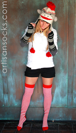 Fleece Lined Animal Beanie: Cute Sock Monkey Hat