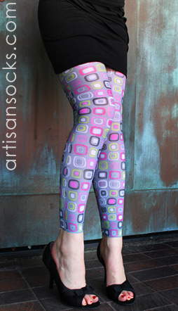 LYCRA FOOTLESS LEGGING TIGHT / GREY DOT ART