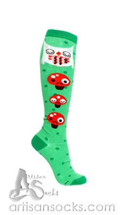 Loungefly Crowded Teeth Owl - Mushrooms Fun Cotton Knee High Socks