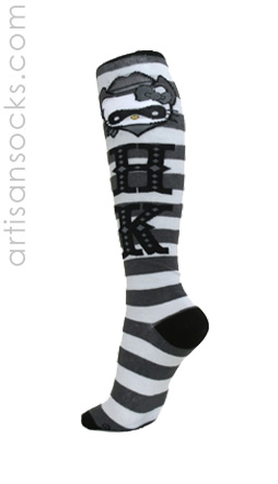 Cowgirl Hello Kitty Knee High Socks with Gray Stripes