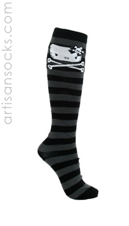 HELLO KITTY ANGRY KITTY WITH CROSSBONES KNEE HIGH SOCKS