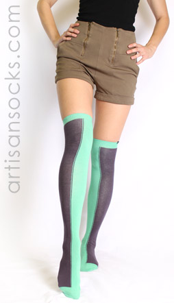 Charcoal and Seafoam Two Toned Socks