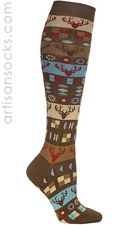 Ozone Reindeer Pattern Brown Knee High Knee Socks