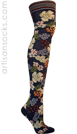 Ozone Japan Blue Floral Over The Knee Socks (OTK)