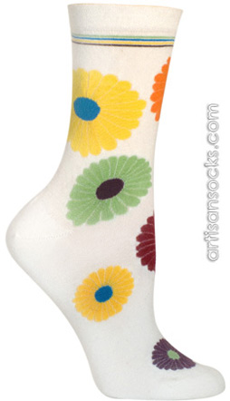 Ozone Mini Flower Power Ecru Crew Socks