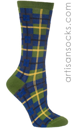 Plaid Ozone Socks - Green and Blue with Yellow