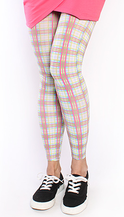 Pink and White Plaid Footless Leggings