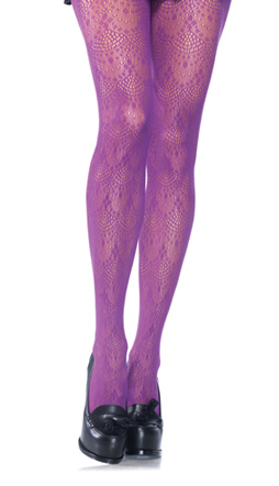 Purple Chandelier Lace Tights-Plus Size