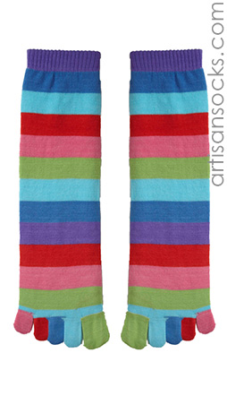 Rainbow Striped Toe Sock