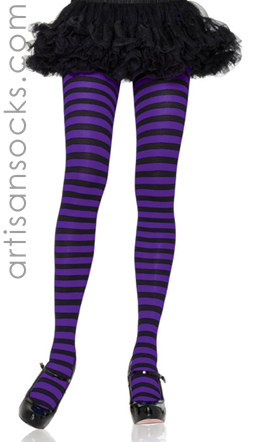 Black & Purple Sexy Striped Tights PLUS SIZE