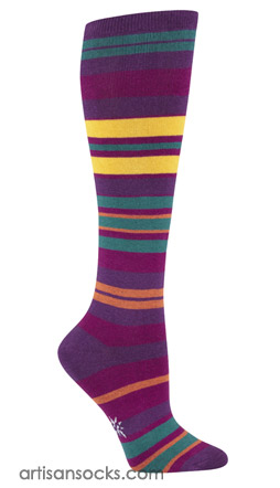 Striped Plus Size Socks -  Knee Socks with Multicolor Stripes