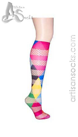 Violet Love Mix Fishnet Rubix Cube Knee High Stockings