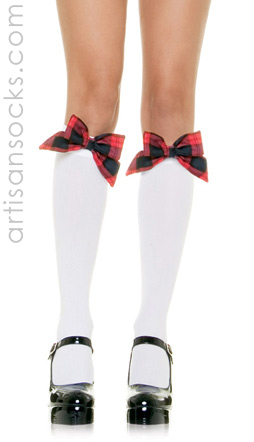 White Knee Hi Stockings  W/Plaid Bow