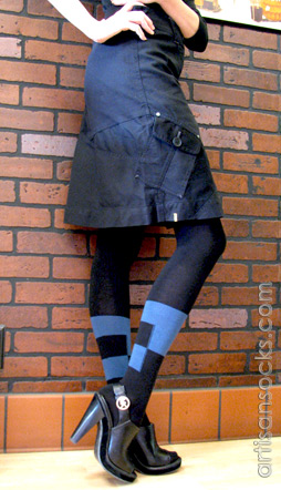 Geometric Sweater Knit Tights in Black with Blue Stripe and Squares