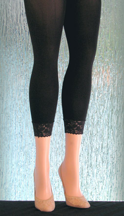 Solid Black Plus Size Leggings with a Lace Cuff