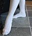 The Milly Lace Light Stretch Knit Boot Socks with Cream Lace Ruffle & Ivory Buttons