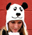 Wool and Fleece Animal Hat: Panda Beanie with Ear Flaps