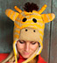 Wool and Fleece Animal Hat: Yellow Giraffe Beanie with Ear Flaps
